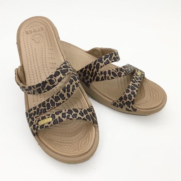 111f4152617c0 CROCS Shoes | Womens 7 Animal Leopard Print Wedge Sandals | Poshmark